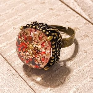 Pressed Flower Adjustable Bronze Ring